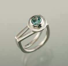 "Zircon in ""V"" shaped Sterling Silver ring. handmade by Jen Lawler www.jenlawlerdesigns.etsy"