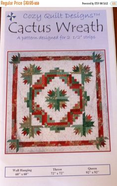 Quilt Inspiration: Inspired by red and green - two. Cactus Wreath, by Georgette Dell'Orco, at Cozy Quilt Designs Another version of the awesome christmas cactus wreath pattern – Quilt Patterns Cactus Wreath Quilt Kit In Three Different Sizes Image Searc Scrappy Quilt Patterns, Sampler Quilts, Block Patterns, Fabric Patterns, Christmas Cactus, Christmas Decor, Christmas Ideas, Christmas Tree, Christmas Ornaments