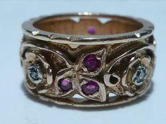 RARE STYLE RETRO 14K ROSE PINK GOLD RUBY & DIAMOND WEDDING ENGAGEMENT RING BAND