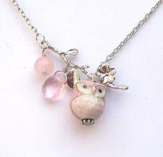 Silver Leaf Jade Quartz Porcelain Owl Necklace (GemJewelry)
