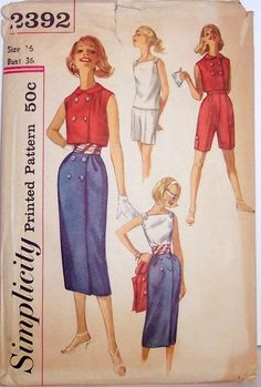 Simplicity 2392 blouse, wrap skirt, jacket, & shorts