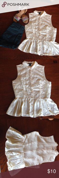 Cream f21 floral peplum top Fits true to size, pearl button down peplum with an embroidered floral pattern. Tops Blouses