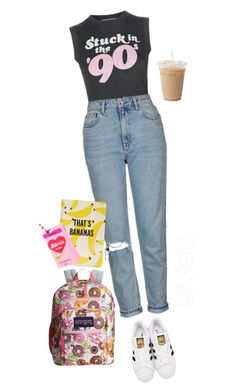 """""""@Mells"""" by melisa-hazal ❤ liked on Polyvore featuring Wildfox, Topshop, adidas Originals, JanSport, Kate Spade and Valfré"""