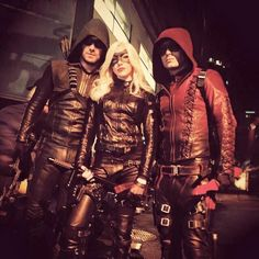 Arsenal (Colton Haynes), Arrow (Stephen Amell) and Black Canary (Katie Cassidy)