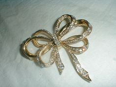 vintage kjl brooch clear pave crystals bow by qualityvintagejewels, $62.00