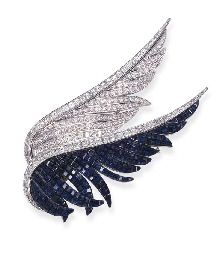 AN IMPORTANT INVISIBLY-SET SAPPHIRE AND DIAMOND WING BROOCH, BY VAN CLEEF & ARPELS