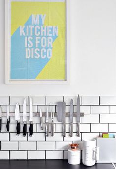 What better kitchen art could there be than a framed typographic tea towel?