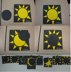 A solar eclipse project we did based on the News 2 You article we read this week. Just glue a yellow sun to black construction paper. Then create a black moon and attach it by poking a hole and using a fastener. Voila, you have a moveable moon for a solar eclipse. It was great for fine motor skills, as we cut out each individual ray for the sun. My class suns are pictured at the bottom.