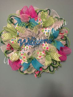 Welcome deco mesh wreath, spring deco mesh wreath, spring wreath,  Wreaths by Ileana     $70.00