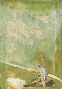 """Untitled (Skier), Peter Doig, 1009, oil and graphite on paper, 23 1/2 x 16 3/4"""", private collection."""