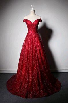 Shinning burgundy tulle off shoulder customize long evening dress, sequins #dress #gowns