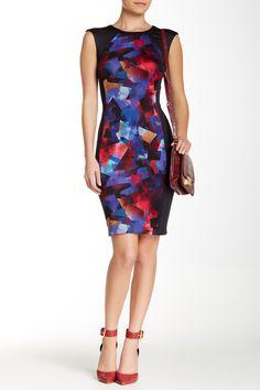 Cap Sleeve Blocked Print Scuba Dress by Maggy London on @nordstrom_rack