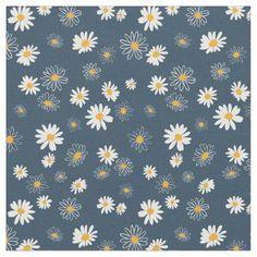 Classic Daisies Flowers Navy Yellow White Fabric