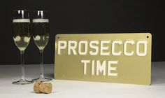 "PROSECCO TIME Vintage Embossed - Stove Enamel Plaques -20.5"" X 4.5"" -1 – The Acrylic Master House Signs, Office Signs, Prosecco, Unique Colors, Vintage Signs, Emboss, Stove, Enamel, Plates"
