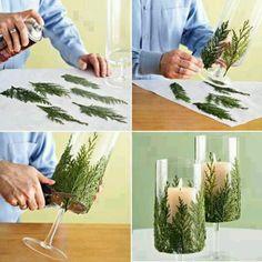Çam dallarıyla vazo süslemek