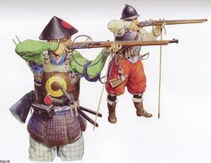 Teppou Ashigaru (Gun Footmen, or Musketeers) Muskets brought into Japan for the first time in 1543 were named tanegashima after the island where they were introduced. They were also called hinawa-juu (matchlock guns) because himawa (a fuse cord) was used to kindle the gunpowder. In the course of time Kunitomo in Omi, Negoro in Ku, and Sakai in Izumi saw a period of prosperity as the three major cities in gun-manufacturing, while muskets gradually spread across the country.