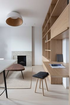 """MWAI architects was tasked with transforming a 37-square-metre, one-bedroom apartment in a Mayfair mansion block into a minimalist """"pied-à-terre"""". One Bedroom Apartment, Apartment Interior, Apartment Design, Minimal Apartment, Mayfair, London Apartment, Minimal Home, Living Room Kitchen, Interior Inspiration"""