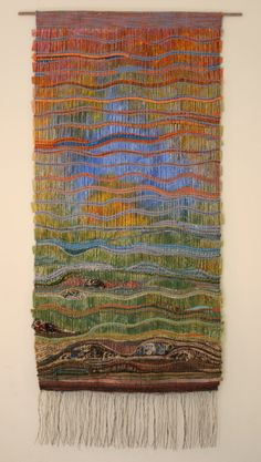 Beyond Horizon - Weaving with painted wallpaper and clusters of bunched up yarns - amazing