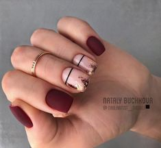 55 Pretty and Awesome Burgundy Nail Art Designs – Nageldesigns – Nails Red Nails, Love Nails, Pretty Nails, Hair And Nails, Black Gel Nails, Burgundy Nail Designs, Burgundy Nail Art, Black Nail Designs, Short Nail Designs
