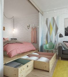 Фотография: Спальня в стиле Лофт, Скандинавский, Эклектика, Малогабаритная квартира, Квартира, Планировки, Мебель и свет – фото на InMyRoom.ru