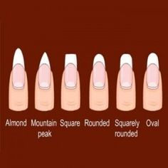 I'm now holding up my hands to the laptop screen to see which nail shape I have... squarely rounded is the closet.