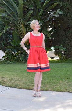 @eShakti.com red dress with neutral accessories