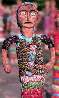 Sculptures by Nek Chand at his Rock Garden in Chandigarh, India
