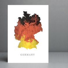 Flag Map of Germany Print. 8x10 on A4 Archival by silvermoonprints