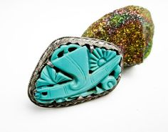 1920s Chinese Export Brooch/ Pin, Carved Genuine Turquoise & Sterling Silver, Hand Carved Dragonfly, China.   by TampicoJewelry, $149.00