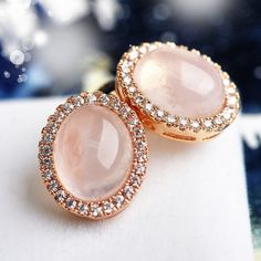 blush pink wedding stud earrings with rhinestone EWAER055