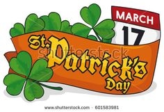 Banner with a four-leaf shamrock, a ribbon lay on it, some trefoil clovers and a loose-leaf calendar with reminder date for St. Clovers, Leprechaun, St Patricks Day, Celebration, Calendar, Royalty Free Stock Photos, Banner, Ribbon, Illustration