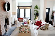 Haddon Interiors: Chic, Eclectic Row House Living Room Design With Black  Convex Mirror On Floor To Ceiling .