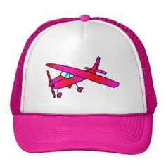 Pink airplane aircraft plane cap caps hats. Customizable - add your own message of childs name.