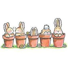 Penny Black Bunny Friends Rubber Stamp