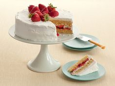 Looks like a cake from afar, then you get a slice and it's actually whipped cream frosting and the cake has a hint of lemon.  Get the recipe for diner style strawberry shortcake at Food Network