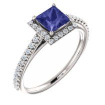 10K White Gold 5x5 Princess Cut Tanzanite and Diamond Halo-Style Ring   List Price: 	$2,590.32 Your Price: $1,554.19  http://astore.amazon.com/greabbirthstones-20/detail/B00KHWYNG8 #engagementring