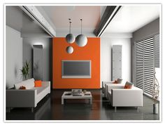 orange painted accent wall