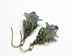 Jewelry, Earrings Sage, Lavender Hand Dyed Lucite Flower, Czech Faceted Glass, Antique Brass FREE SHIPPING. $7.00, via Etsy.