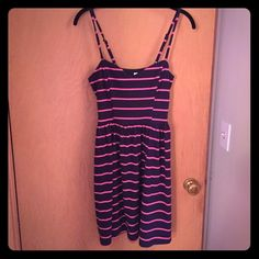 🎉Host Pick!🎉 Cute sundress Adorable spaghetti strap sundress. Stretchy material, navy with pink stripes. Only worn once or twice. Adjustable straps Xhilaration Dresses
