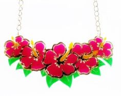 hibiscus floral necklace
