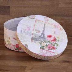 Boite chapeau décoration Paris - Modèle déco en carton dur - Boite à chapeau décoré