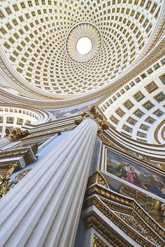 """The Rotunda of St Marija Assunta (sometimes shortened to Mosta Dome) is a church in Mosta, Malta. Built in the 19th century on the site of a previous church, it was designed by the Maltese architect Giorgio Grognet. Its dome is among the largest in the world, with a diameter of 37 meters (122ft). The rotunda dome is the third-largest church dome in Europe and the ninth largest in the world."""""""