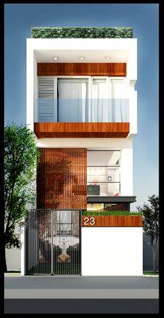 2014.! Bungalow House Design, House Front Design, Small House Design, Modern House Design, Architecture Durable, Small Modern House Plans, Narrow House Designs, Facade House, House Facades