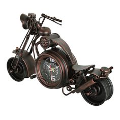 "Motorcycle Replica Vintage Finish Metal Decorative Clock, 20"", Antique Bronze Finish - Utopia Alley - 4"