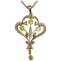 Antique Seed Pearl, Peridot and Gold Pendant (chain not included in sale price)