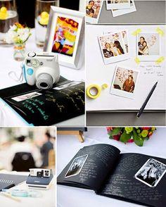 As Melhores Amigas da Noiva: Livro de assinatura do casamento usando fotos polaroid