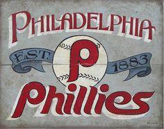 Philadelphia Phillies vintage Print-faux painted, original art