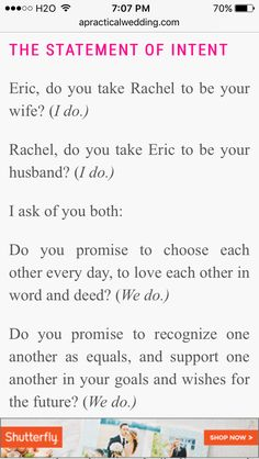 Vows recognizing equality in the marriage; secular wedding vows http://apracticalwedding.com/2016/09/wedding-ceremony-scripts/