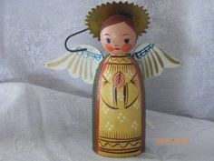 Vintage Wooden Praying Angel Christmas Ornament~ Made In Austria