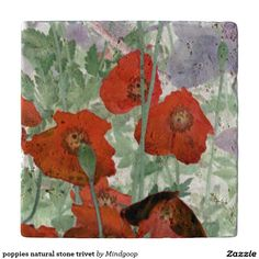poppies natural stone trivet